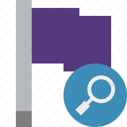 flag, location, marker, pin, point, purple, search icon