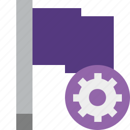 flag, location, marker, pin, point, purple, settings icon