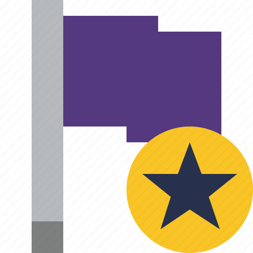 flag, location, marker, pin, point, purple, star icon