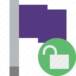 flag, location, marker, pin, point, purple, unlock icon