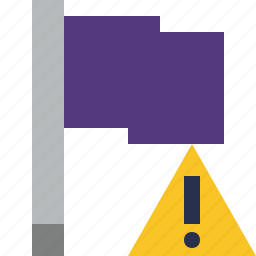 flag, location, marker, pin, point, purple, warning icon