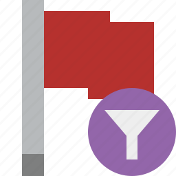 filter, flag, location, marker, pin, point, red icon
