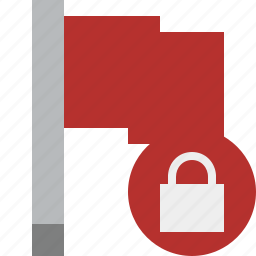 flag, location, lock, marker, pin, point, red icon