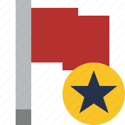 flag, location, marker, pin, point, red, star icon