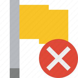 cancel, flag, location, marker, pin, point, yellow icon