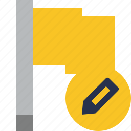 edit, flag, location, marker, pin, point, yellow icon