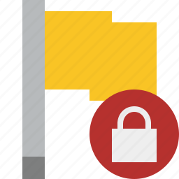 flag, location, lock, marker, pin, point, yellow icon