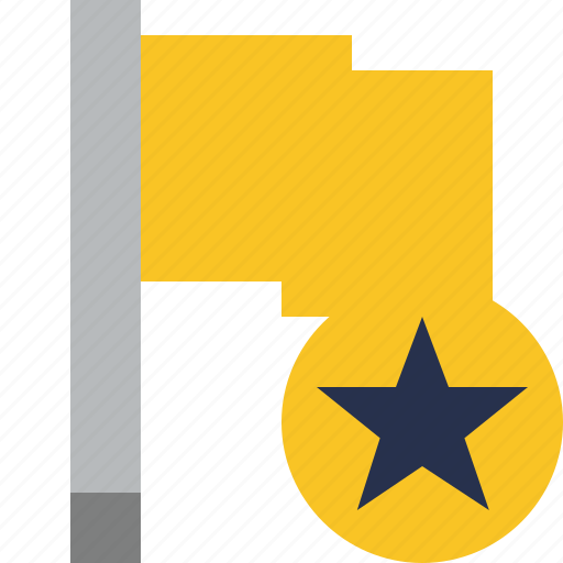 flag, location, marker, pin, point, star, yellow icon