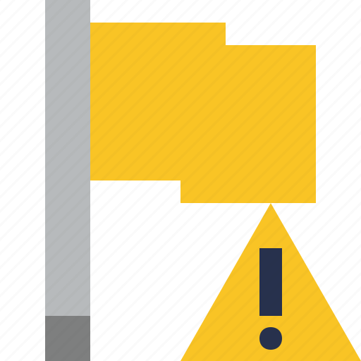 flag, location, marker, pin, point, warning, yellow icon