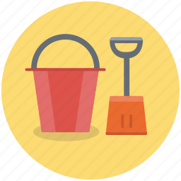 beach, bucket, construction, dig, gardening, shovel, tools icon
