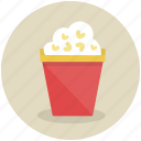cinema, corn, food, popcorn, snack icon