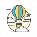 balloon, clouds, discover, hot icon