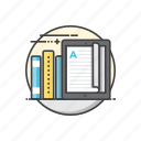 books, e, learning, reading, tablet icon