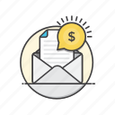 advertising, currency, e, mail, marketing, money icon