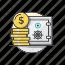banking, dollar, financial, insurance, money, safe icon