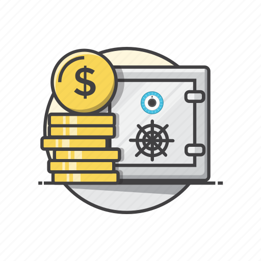 banking, dollar, financial, insurance, money, safe icon