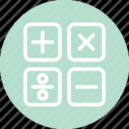 calculator, calculator sign, education, math, mathematics icon