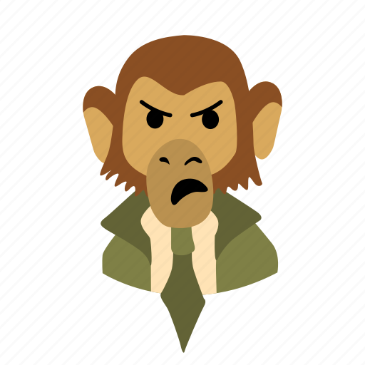 angry, businessman, character, face, monkey, necktie icon