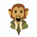 big, businessman, character, face, monkey, necktie, smile icon