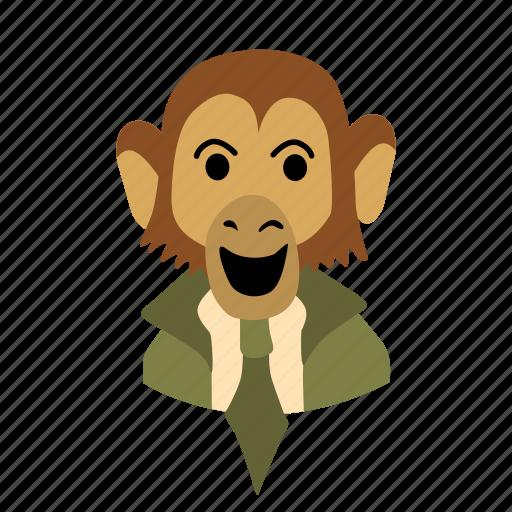 big, businessman, character, face, monkey, necktie, smile icon