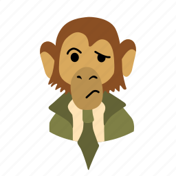 businessman, character, confusion, face, monkey, necktie icon