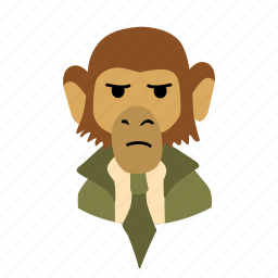 businessman, character, coolness, face, monkey, necktie icon