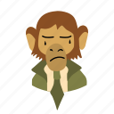 businessman, character, crying, face, monkey, necktie icon