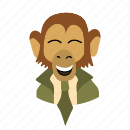 businessman, character, face, laughing, monkey, necktie icon