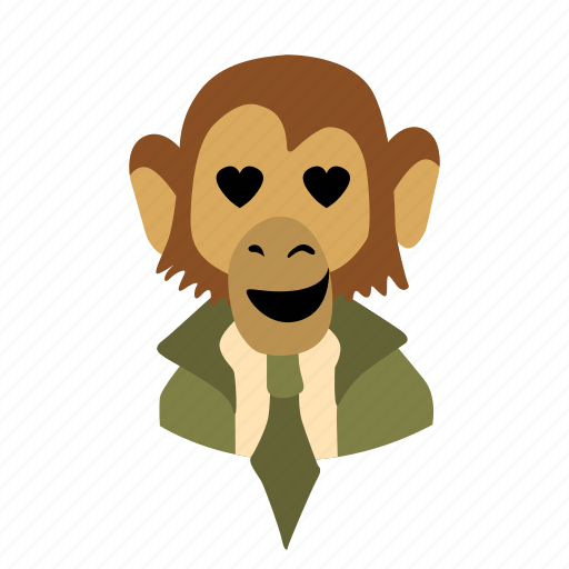 businessman, character, face, love, monkey, necktie icon