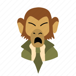 businessman, character, face, monkey, necktie, shout icon
