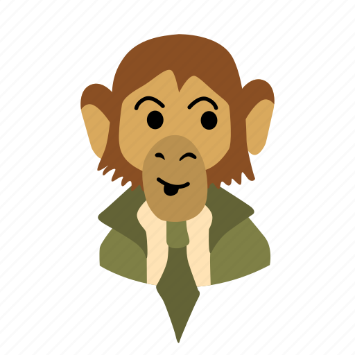 businessman, character, face, monkey, necktie, shy icon