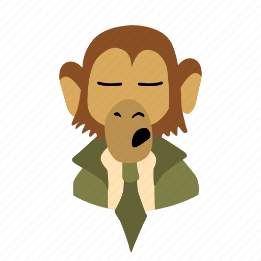 businessman, character, face, monkey, necktie, sigh icon