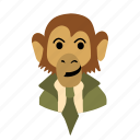 businessman, character, face, monkey, necktie, smile icon