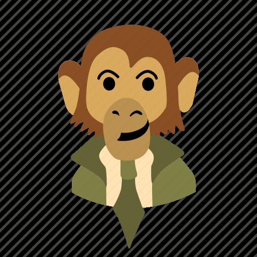 businessman, character, face, monkey, necktie, smile icon