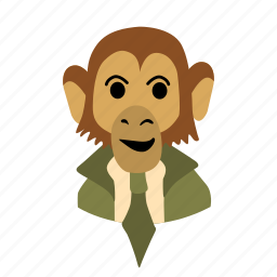 businessman, character, face, head, monkey, necktie, smile icon