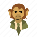 businessman, character, face, monkey, necktie, smirk icon