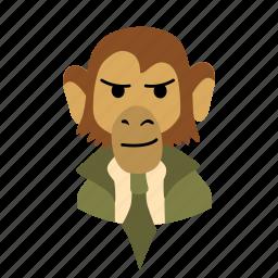 businessman, character, face, monkey, necktie, smirk icon