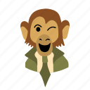 businessman, character, face, monkey, necktie, wink icon