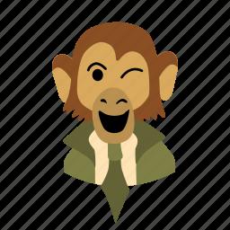 businessman, character, face, monkey, necktie, wink icon