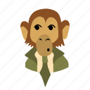 businessman, character, face, monkey, necktie, wondering icon