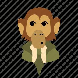 businessman, character, face, monkey, necktie, wondering icon