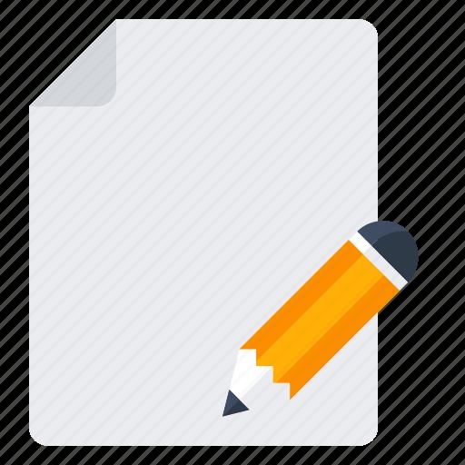 document, edit, file, paper, pencil icon
