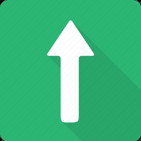 ahead, arrow, forward, point, up icon