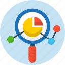 analytics, pie chart, search, seo, web icon