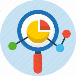 analytics, pie chart, search, seo, web icon