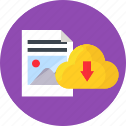 cloud, document, download, storage, work icon