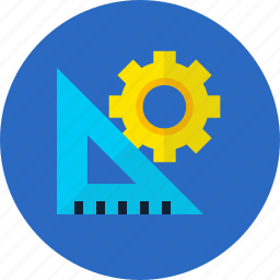 gear, ruler, set up, setting, tool, work icon