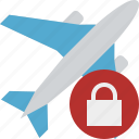 airplane, flight, lock, plane, transport, travel icon
