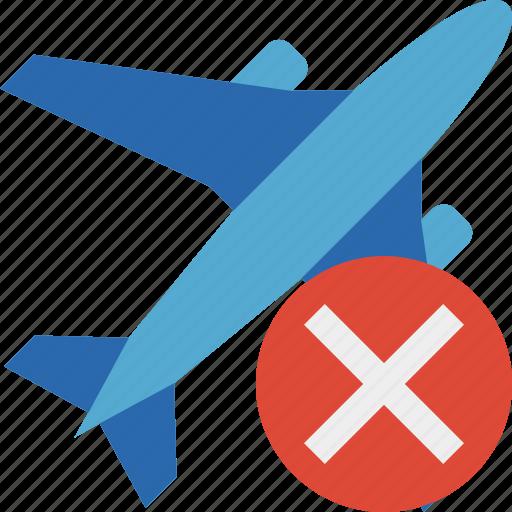 airplane, cancel, flight, plane, transport, travel icon
