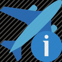 airplane, flight, information, plane, transport, travel icon